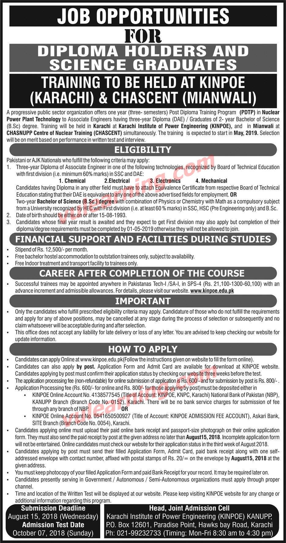 Paec Jobs For Diploma Holders Amp Science Graduates Pdtp