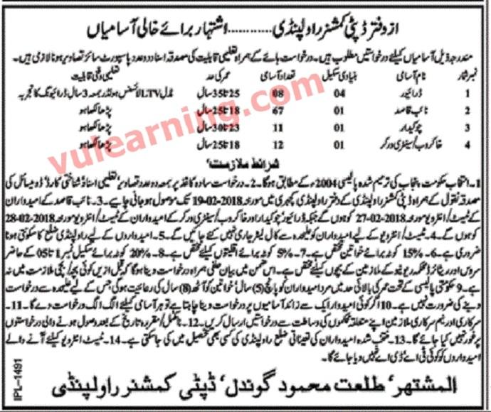 Deputy Commissioner Office Rawalpindi Jobs 2018 For 98