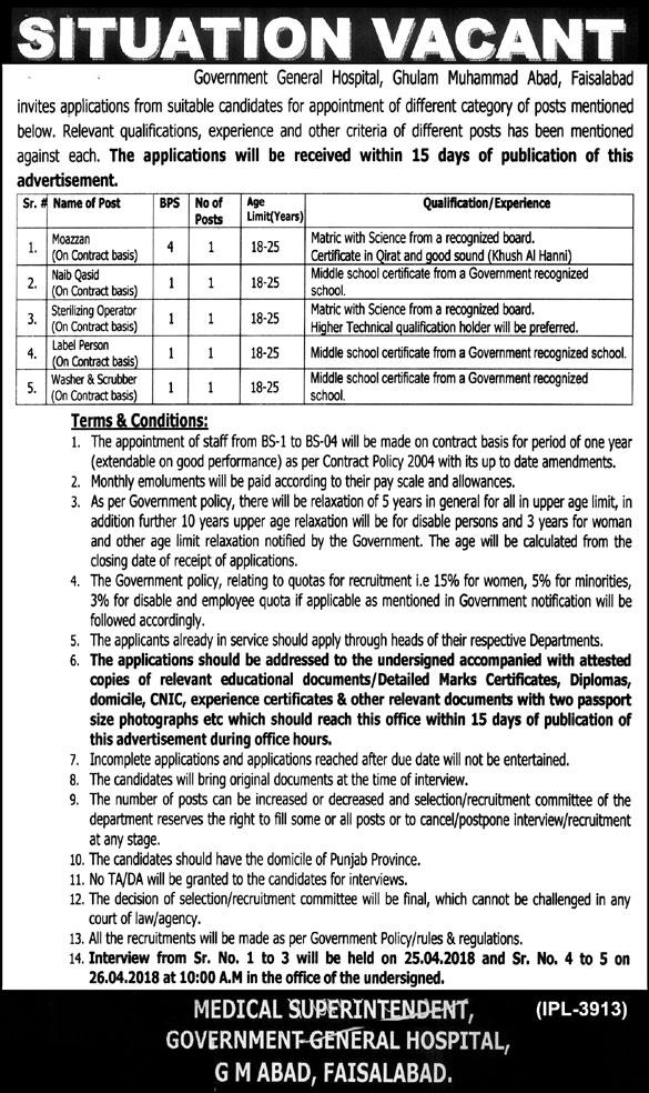 Government General Hospital Faisalabad Jobs 2018 Vacancies