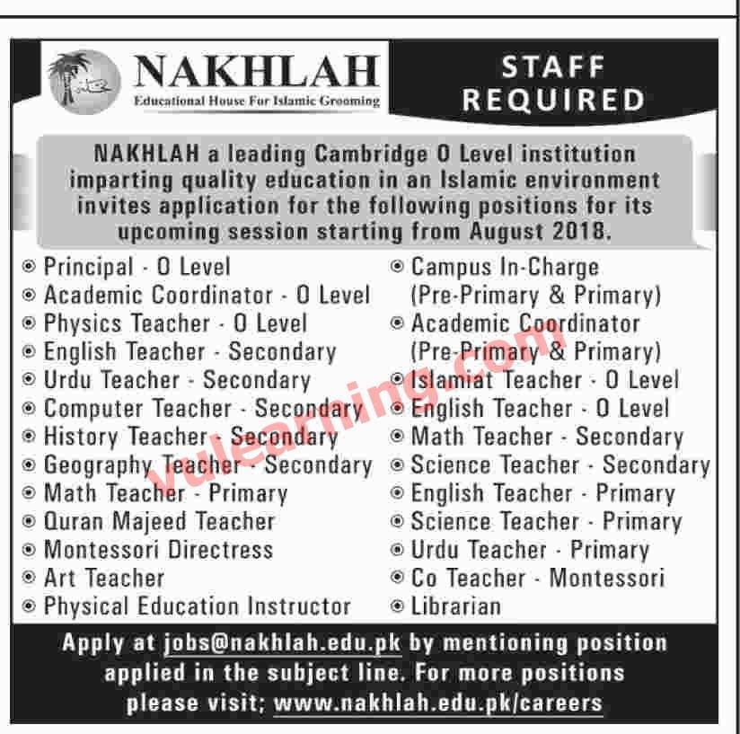 Science Teacher Job Facts: NAKHLAH Schools Karachi Jobs 2018 For Teachers & Other