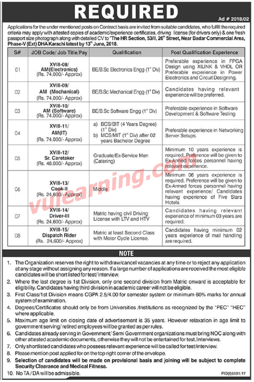 air weapon complex karachi jobs 2018 awc    nescom for