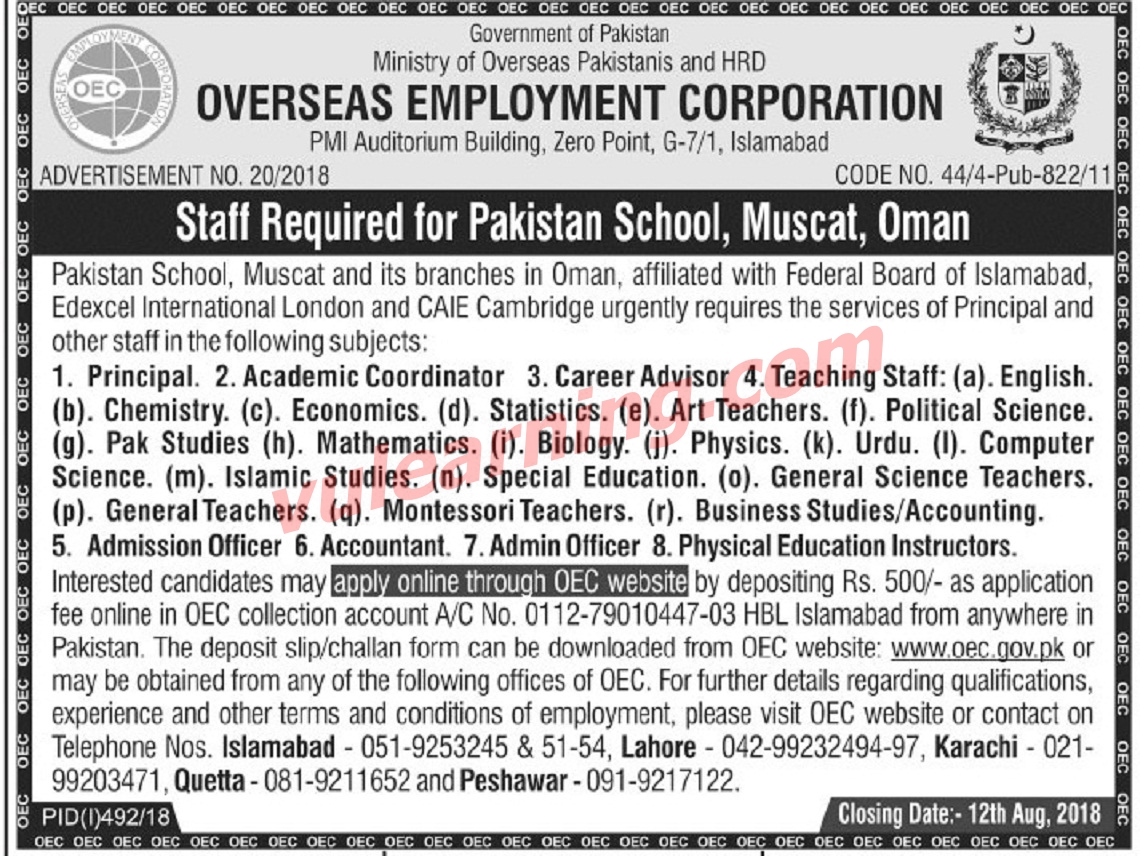 Overseas Employment Corporation Oec Jobs 2018 For
