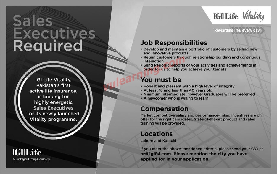 IGI Life Insurance Limited Jobs 2019 for Sales Executives ...