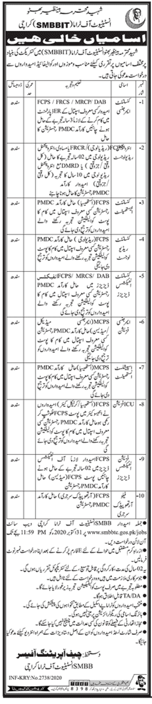 Shaheed Mohtarma Benazir Bhutto Institute of Trauma (SMBBIT) Karachi Jobs  2020 for Consultants, Physician, Radiologist, Anesthetist & Other Apply  Online Latest