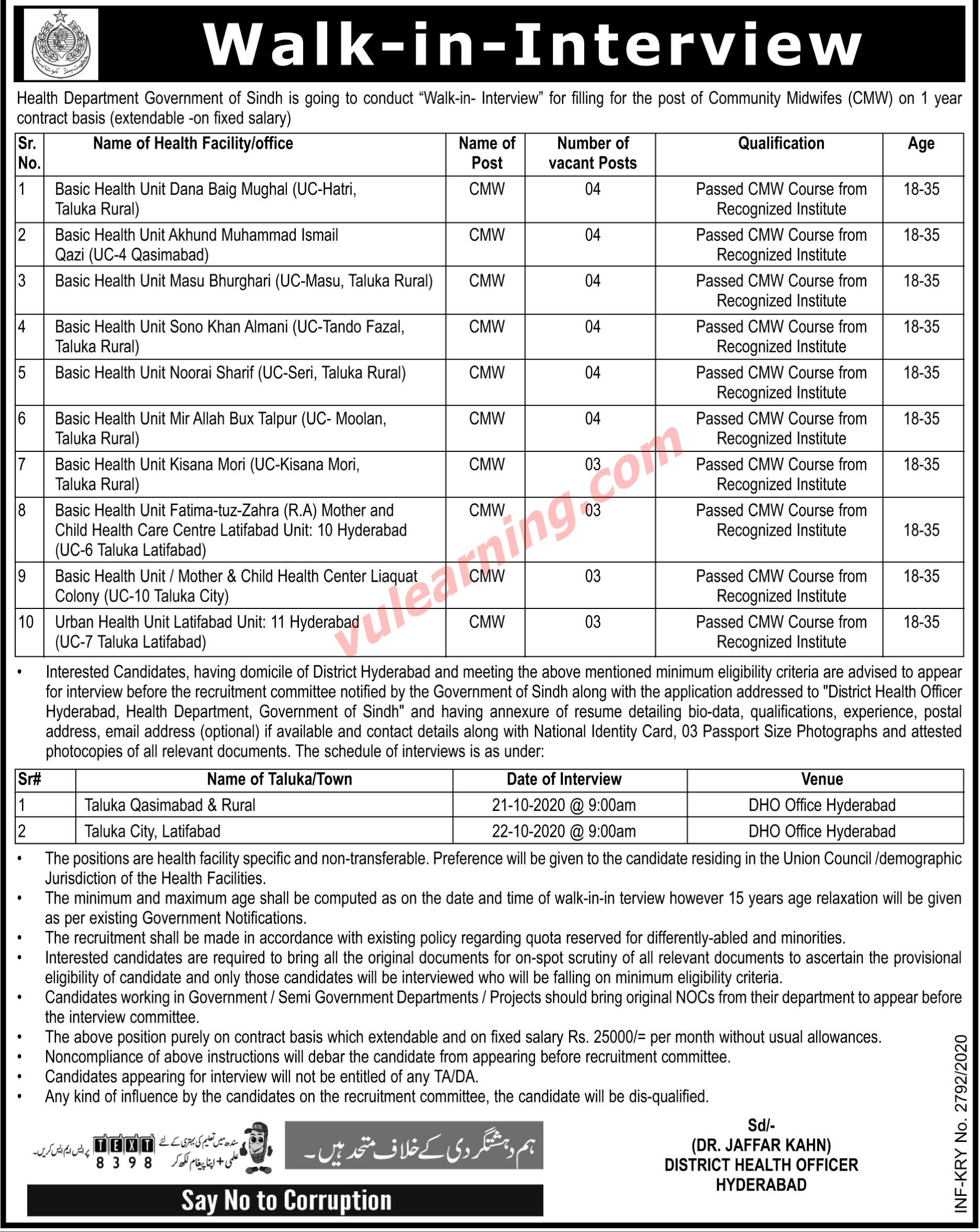 Sindh Health Department District Hyderabad Jobs 2020 for ...
