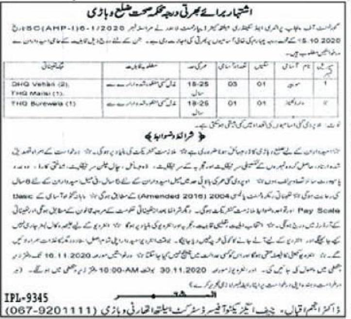 Advertisement of Health Department District Vehari Jobs ...
